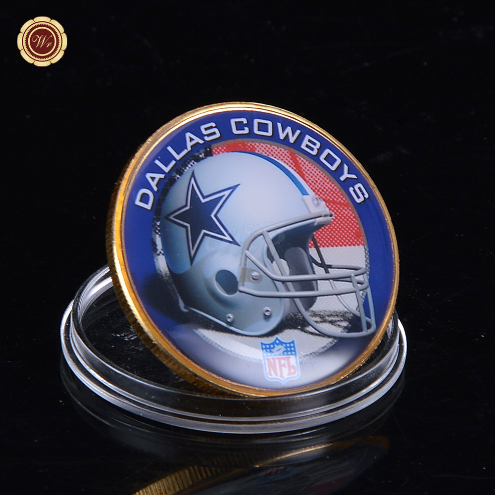 WR NFL Coin Dallas Cowboys 24k Gold Plated Coin Football Team Gift Commemorative Custom Gifts with Acrylic Box