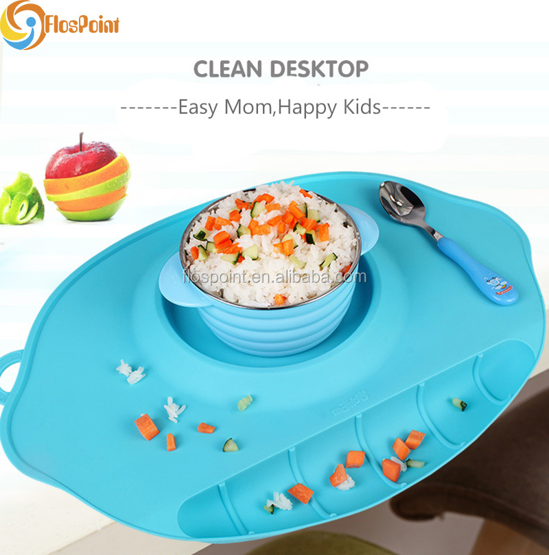 Durable Heat-resistant Non-slip Food Fruit Silicone Plate For Kids Reusable BPA Free Placemats And Napkins