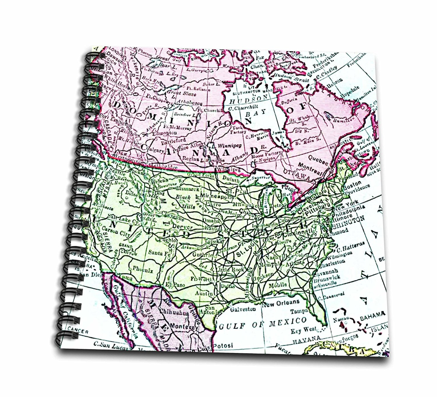 3dRose db_112937_2 Vintage Map of North America-USA Canada Mexico-Faded Look Geography Travel Maps Pink Green-Memory Book, 12 by 12-Inch