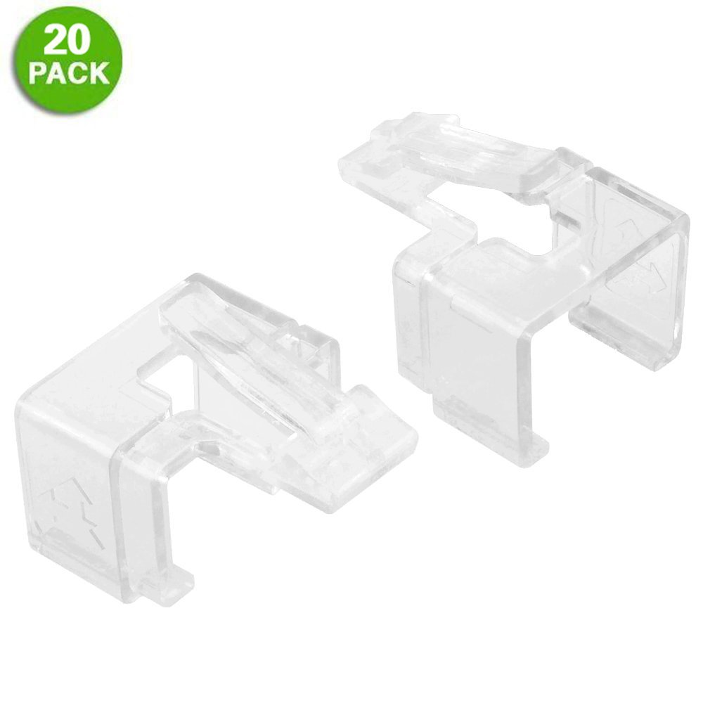20 Pack Plug SOS Clips in White, for RJ45 Connector Fix/Repair and Color Coding/Management, NO Crimp Tool Needed