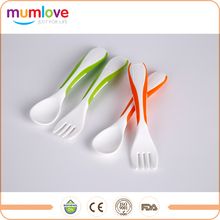 Mini Bi-Color Plastic Baby Feeding Fork And Spoon Set