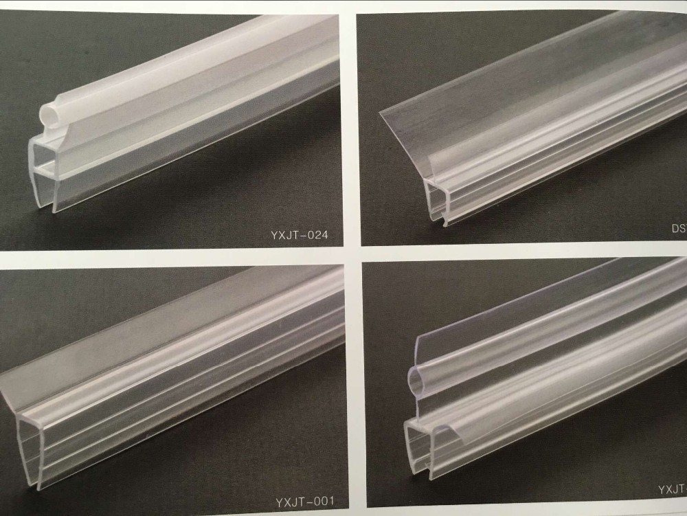 Glass Shower Door Frame Waterproof Clear Plastic Extrusion