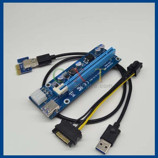 6-Pin Powered PCI-E PCI Express Riser - VER 006C - 1X to 16X PCIE USB 3.0 Adapter Card