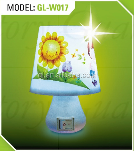OEM mini table lamp W017 shape LED SMD switch plug in night light with 0.6W and 110V or 220V