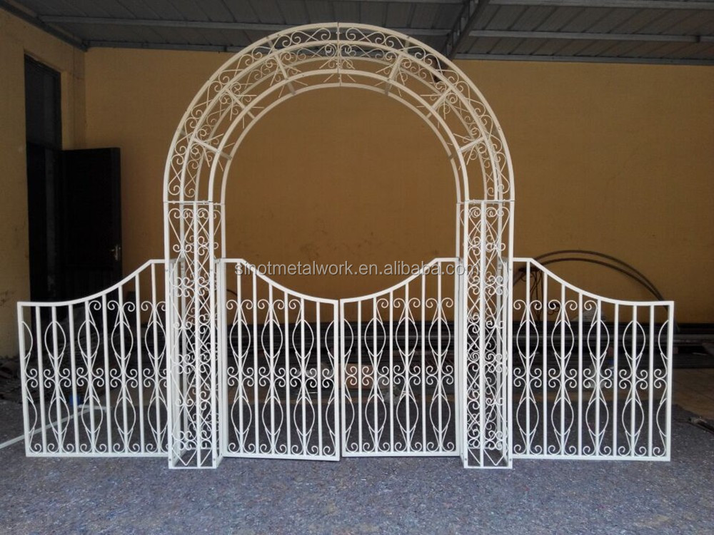 wrought iron garden gate arch 2016 new unique white. Black Bedroom Furniture Sets. Home Design Ideas