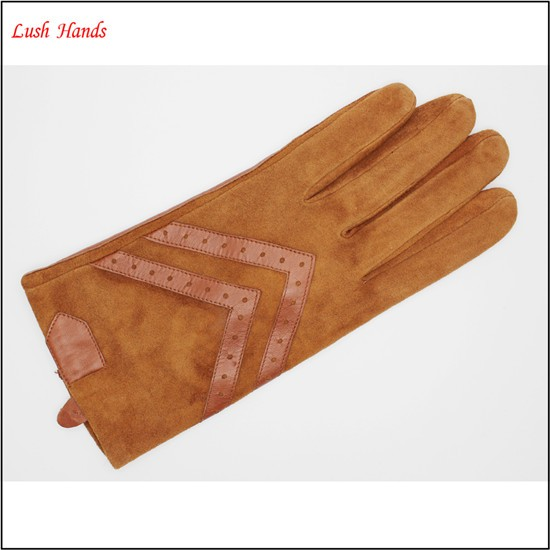 Women 's fashion drving brown sheepsuede and leather gloves