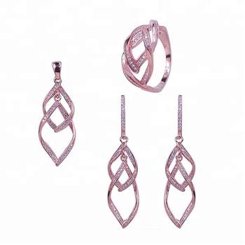 Fashion Dubai Luxury Infinity Symbol 925 Sterling Silver Wedding Set Rose Gold Jewelry