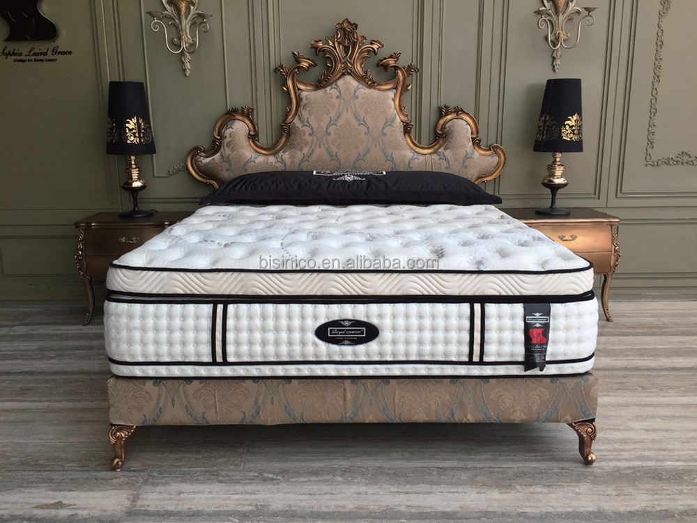 British baroque style carved wooden bed with night stand for Queen anne style bed
