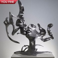 Unmask Group Art Stainless Steel Faces Sculpture