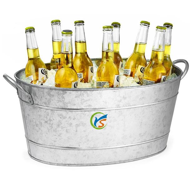 Galvanised Metal Oval Beverage Or Beer Cooler Ice Bucket