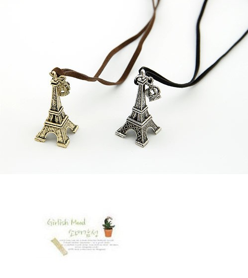 2016 Hot Vintage Gold/Silver Plated Eiffel Tower pendant Crown Ribbon Leather Cord necklaces & pendants for Woman jewelry