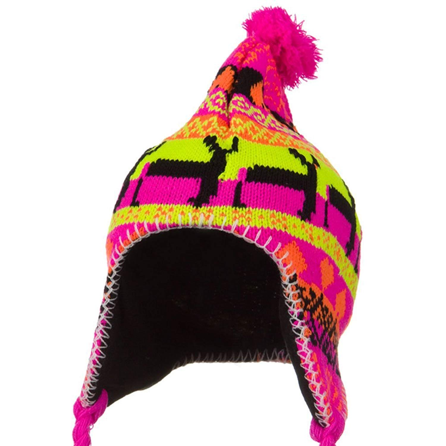 5b56df85ad1 Get Quotations · Solid Wing Neon Ear Cover Deer Knit Hat - Pink