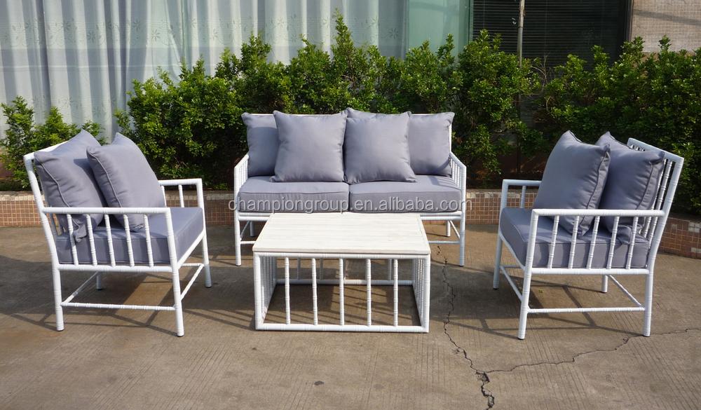 White Aluminum Outdoor Sofa Set In Bamboo Design 4PC Set