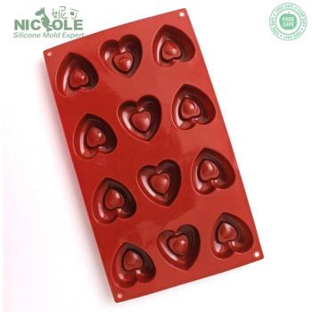 Nicole Valentine Silicone Heart Shape Chocolate Molds Baking Pan