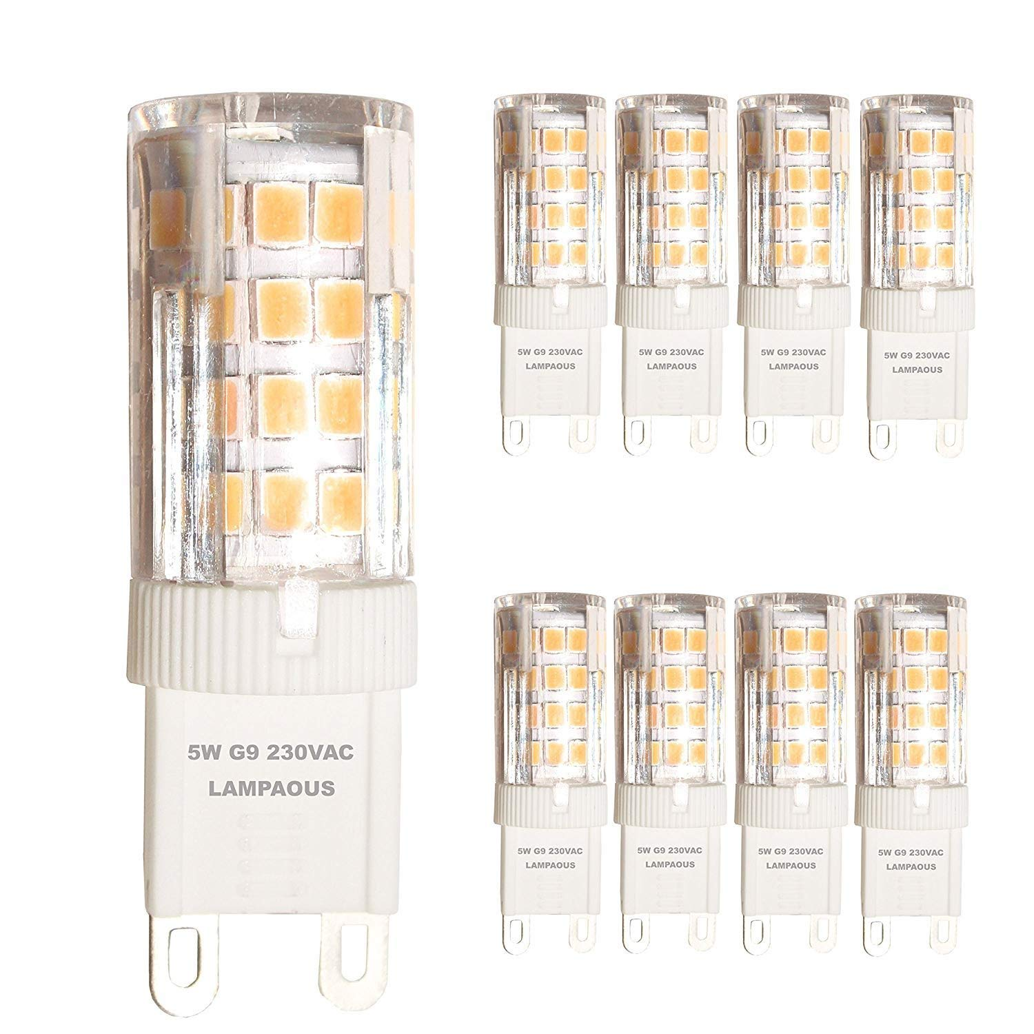 LAMPAOUS G9 LED Bulb Daylight 5W Light Bulbs,50W Halogen Equivalent,3000K Warm White,400lm,120V,G9 Base Lights for Crystal Chandelier Home Indoor Lighting Or Ceiling Light Fixture Pendant Lamp,8 Pack