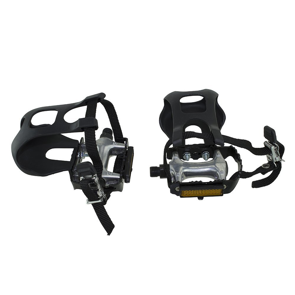Fenix 9/16-Inch Spindle Alloy/Alloy Bicycle Pedals with Toe Clips and Straps, Black/Silver