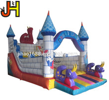 Funny Dragon Themed Inflatable Jumping Bouncy Castle Slide for Sale
