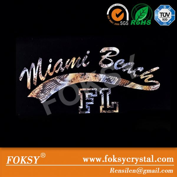hot selling heat transfer logo miami beach
