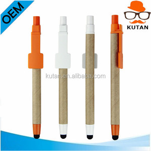 Promotional Manufacture Eco Friendly Recycled Kraft Paper Pen Recycle Touch Screen Stylus Ball Pen