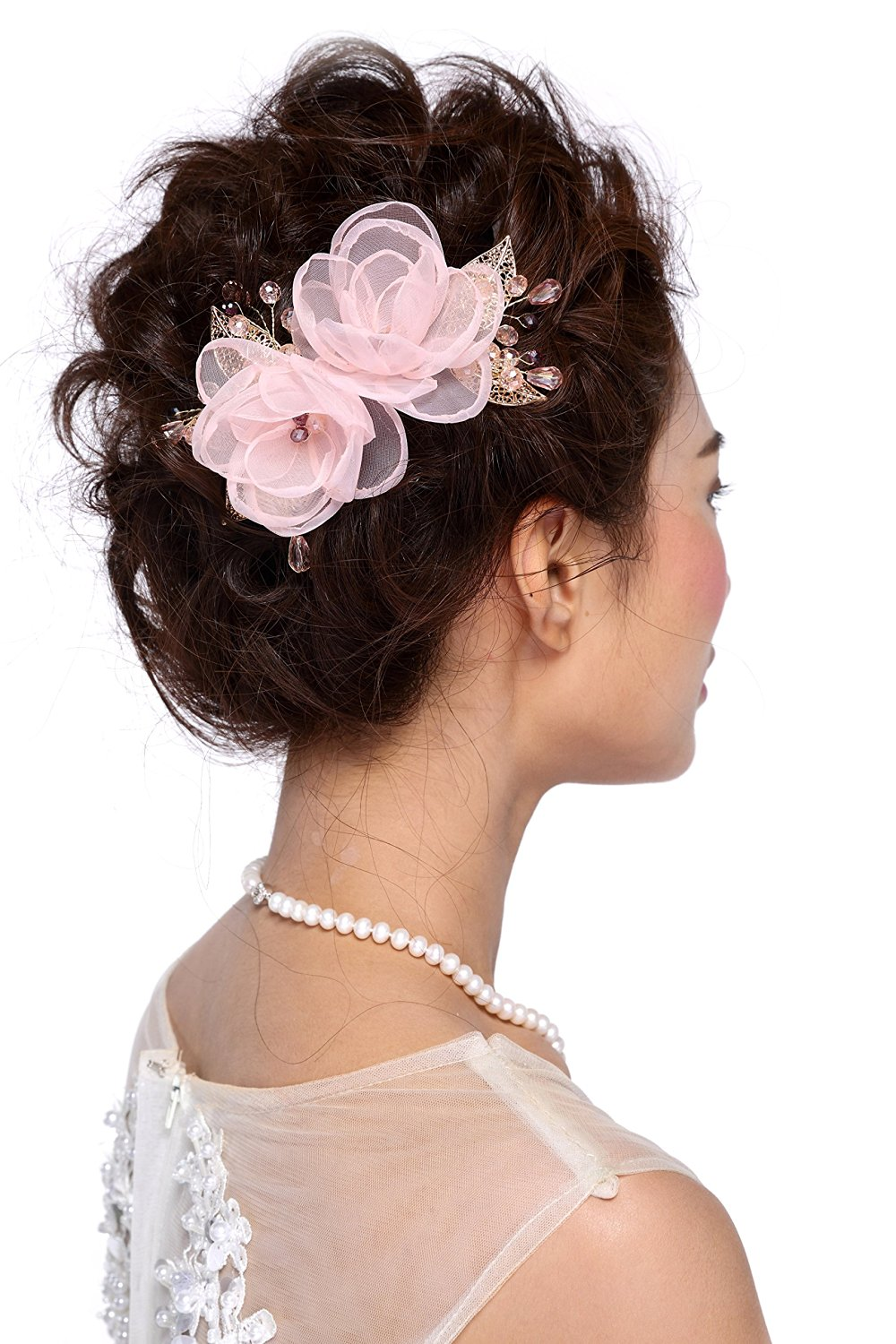 HailieStudio Women's Handmade Wedding Swarovski Crystal Pink Floral Bridal Headpiece