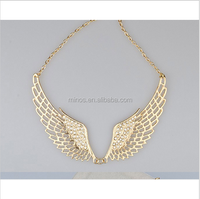 Women Fashion Cz Stone Jewelry Angel Wings Gold Choker Necklace