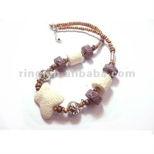 New arrived white butterfly shaped lava rock wood beads charm necklace