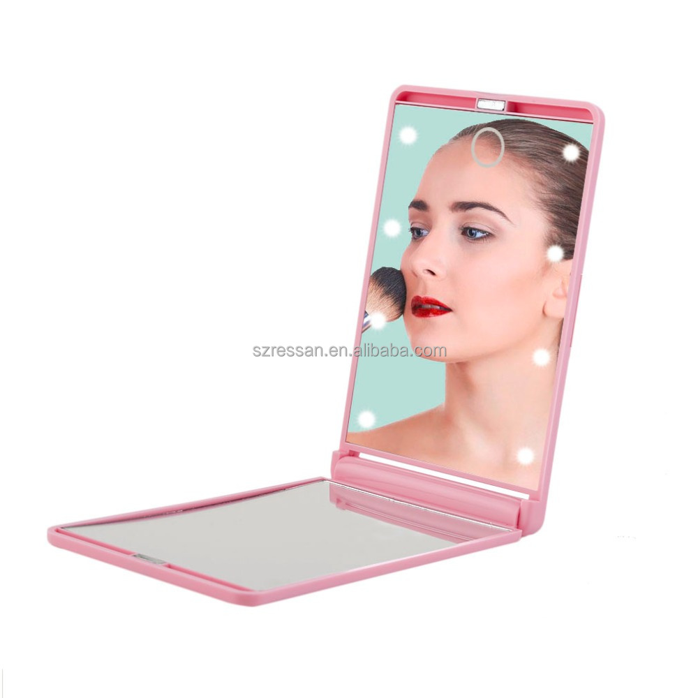 Portable LED Makeup Cosmetic Mirror 8 Lamps Pocket Mirror Folding 2x1x Magnifying Touch Screen