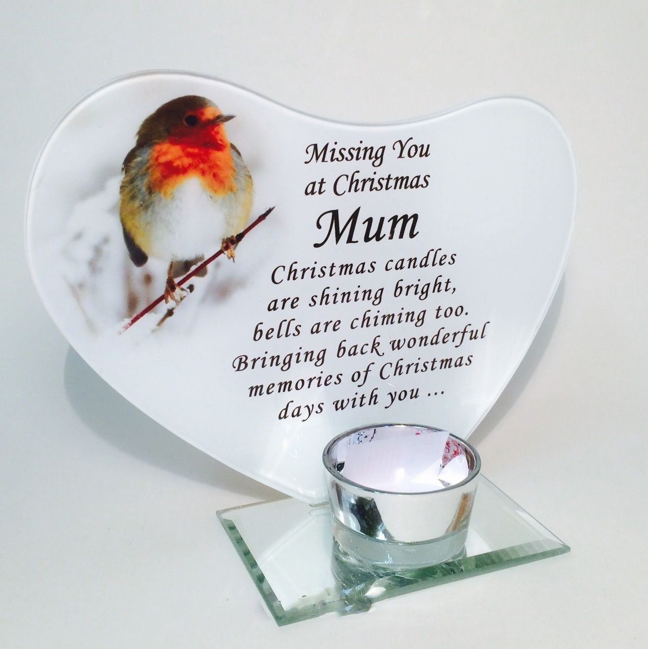 Get Quotations Mum Robin Heart Festive Christmas T Light Memorial Ornament Dad Someone Special