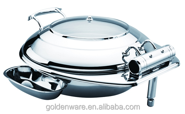 GW-60B-GL 6L round shape chafing dish with glass lid and stand