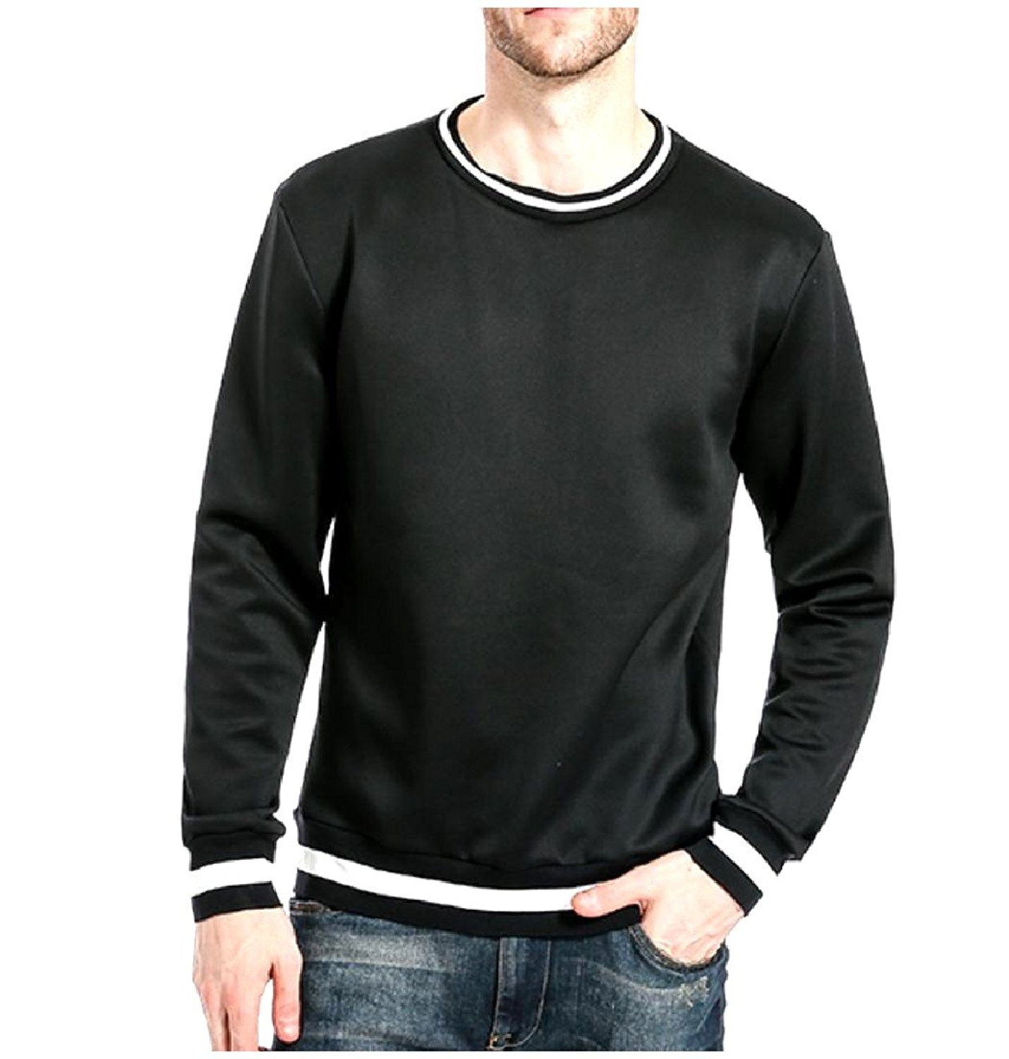 Coolred-Men Long-Sleeve Loose-Fit Relaxed Stitch Crewneck Sweatshirt