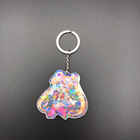 Custom anime transparent plastic charm clearly printed holographic acrylic keychain
