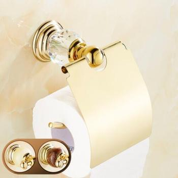 Wholesale And Retail Bathroom Chrome Golden Wall Mounted Ceramics Inlaid Crystal Toilet Paper Holder