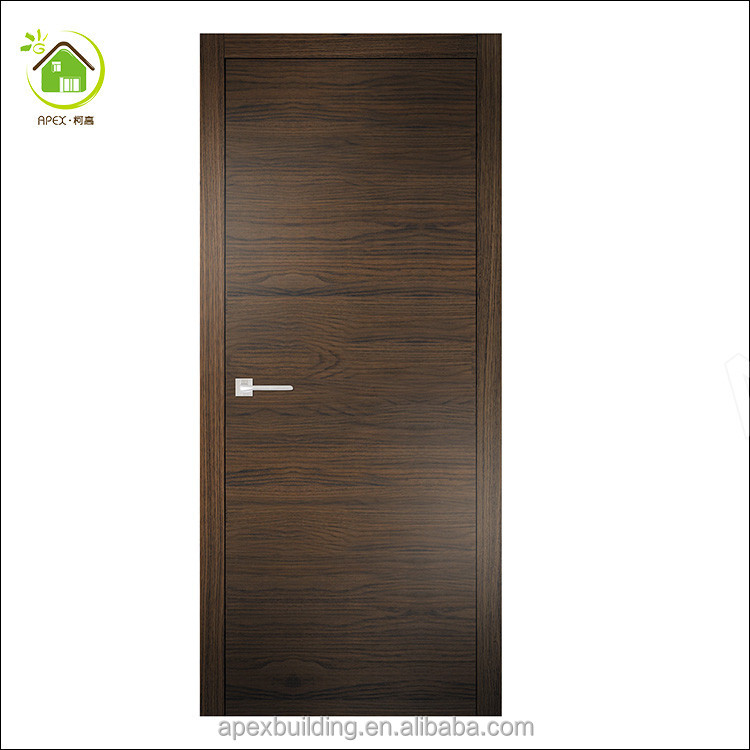 New Simplicity Brown veneer grain flush door for hotel and room / wooden flush door
