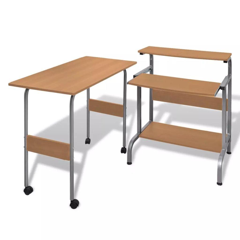 Brown Computer Desk Adjustable Workstation Compact Computer Desk,Office Desks Office Writing Desk
