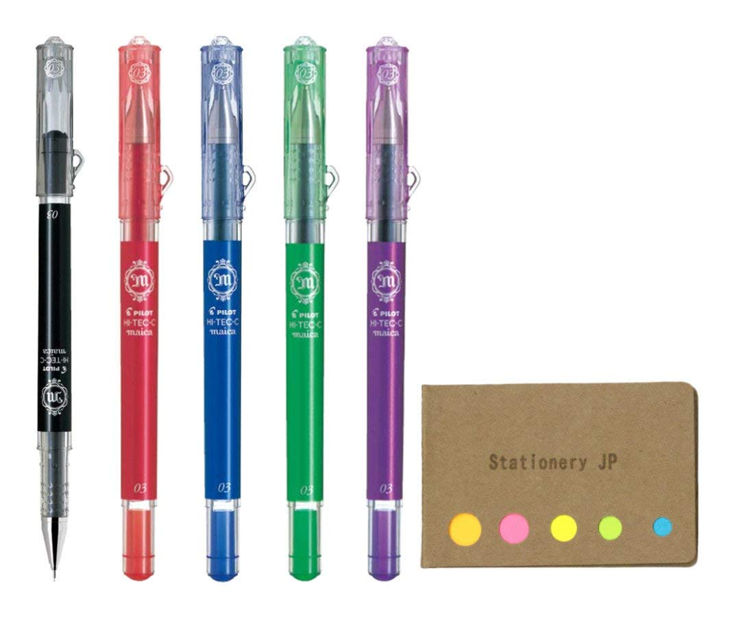 Pilot Hi-Tec-C Maica Gel Ink Pen, Extra Fine Point 0.3mm, 5 Color Ink, Sticky Notes Value Set