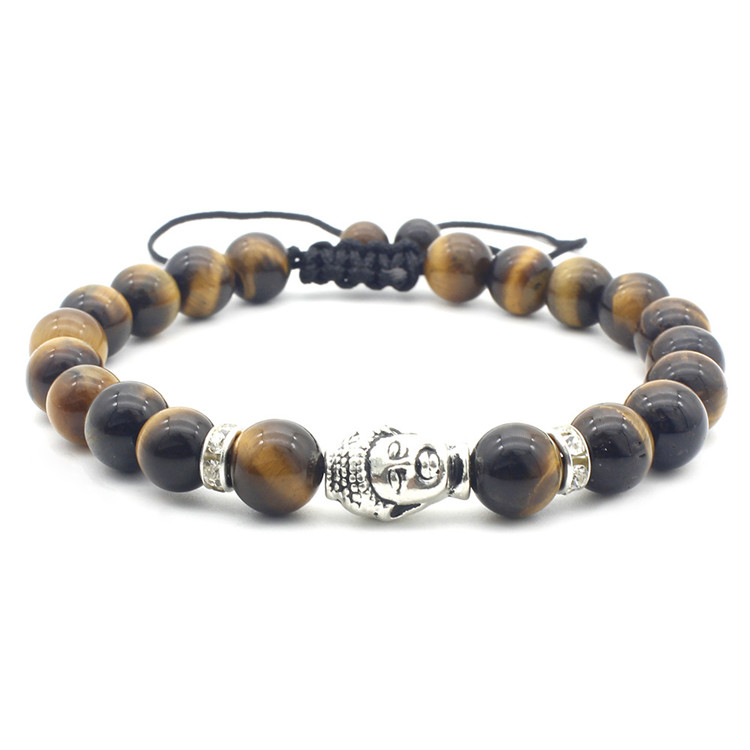 Natural Tiger Eye Beads Bracelet men Women and Mens mens buddha bead bracelet