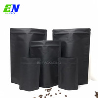 Wholesale 250g eco friendly zip lock black kraft paper bag food packing