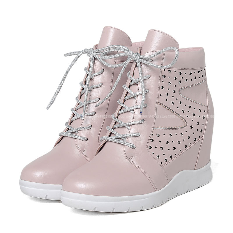 2015 European Version Women's High Top Sneakers Female Genuine Leather Height Increasing Wedge Sneakers Women Lace-Up Shoes
