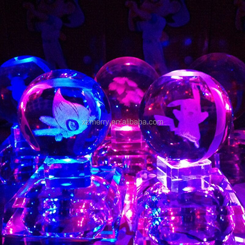 Crystal poke balls Glowing pokemon trapped inside laser engraved, with Led rotating base