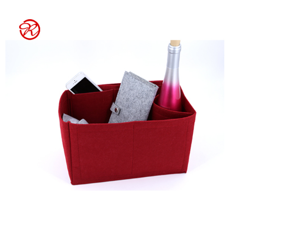 Wear-resistant Wine Red Felt Handbag Organizer Insert and felt bag organizer