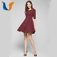 Office lady plain elegant casual wine red half sleeves round neck dress