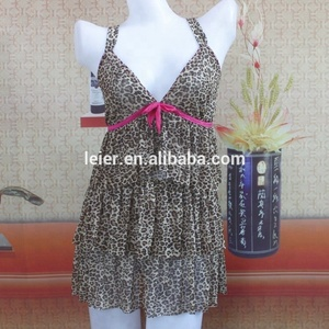 Sexy leopard printed ruffles lingerie Sexy Girl Nighty camisole