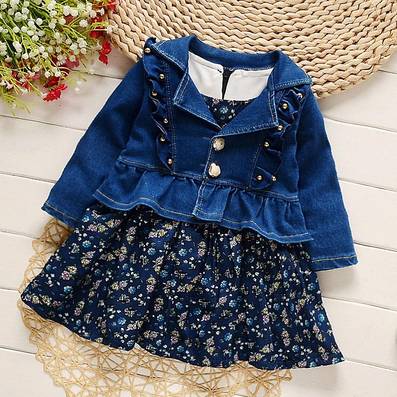 18712a4b2b 2019 2017 Spring New Baby Girls Clothing Sets Fashion Cowboy Style ...