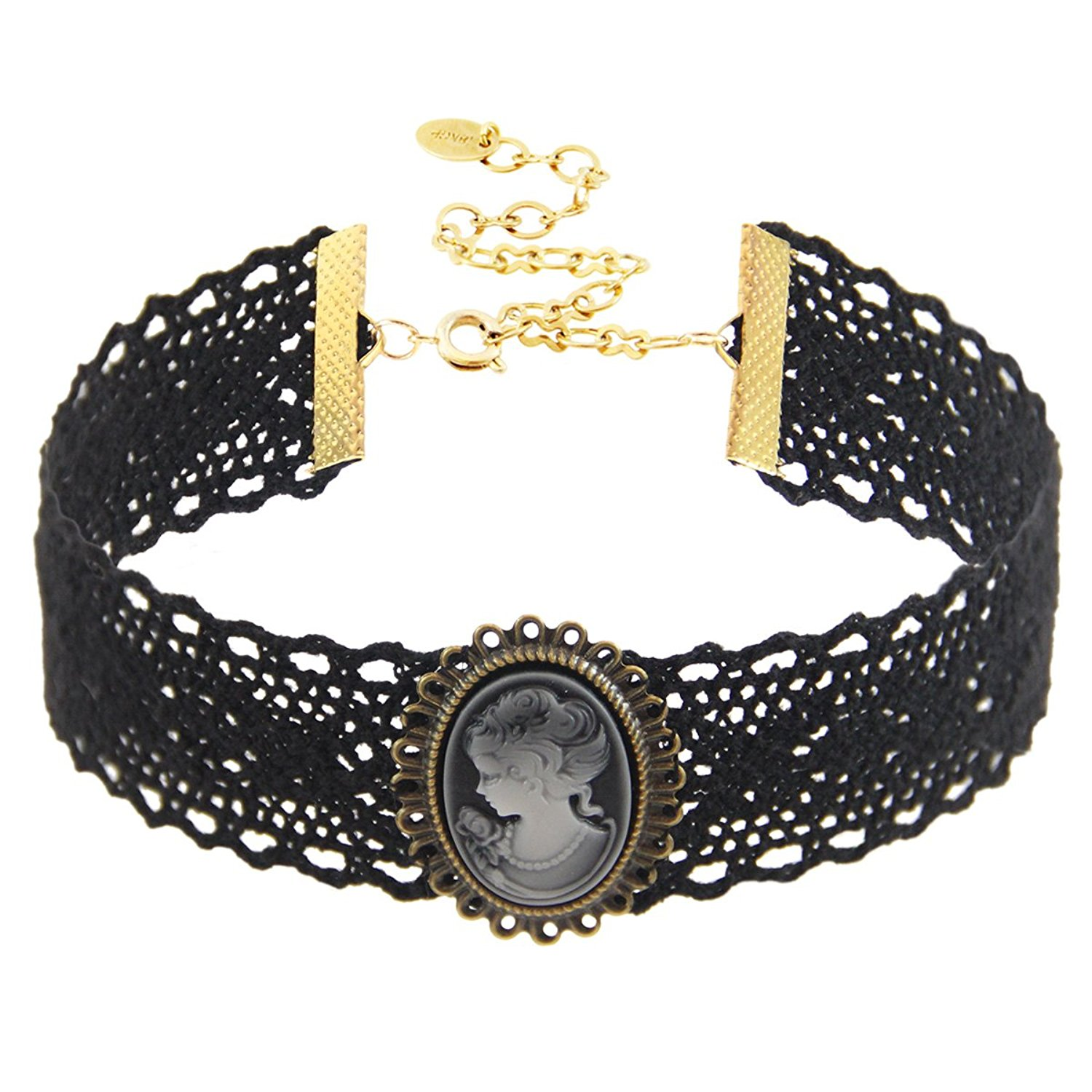 "Choker Necklace Black Cotton Lace Choker with Cameo Accent, 18K Gold Plated Closure.Length: 11"" with 4"" extender, Width: 30mm. Pendant Size: 28x35 mm."