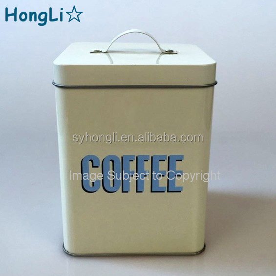Round Shape Coffee Tea Sugar Storage Metal Tin Can / Tin Canister With  Handle Lids