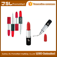 Lipstick shaped logo imprinted click ball point pen