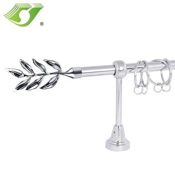 Stardeco metal curtain rod Set, curtain rod leaves Finial, black hollow Metal Curtain Rod
