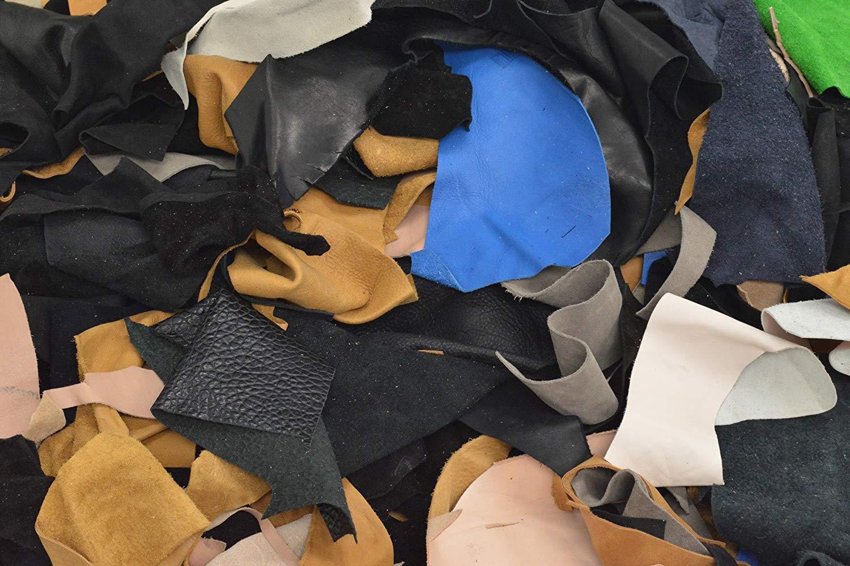 Cowhide Scrap Leather 1 Pound Cow Hide remnants 2-3 oz Multi Color
