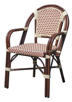 Aluminum Bamboo Cane Arm Chair With Cream U0026 Red Rattan JL139