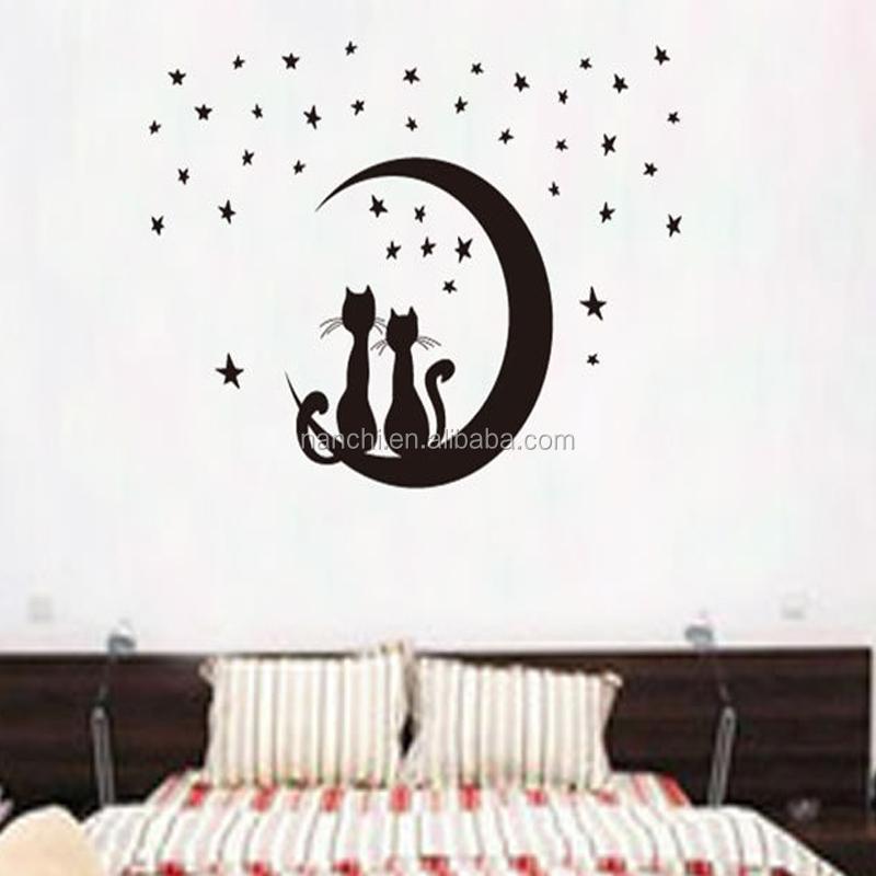 Cartoni animati paio di gatti neri sedersi sulla luna wall stickers ...